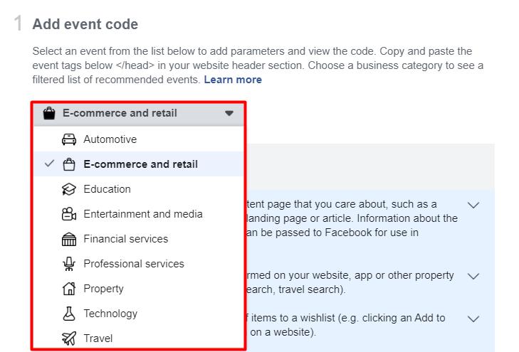 facebook pixel event code