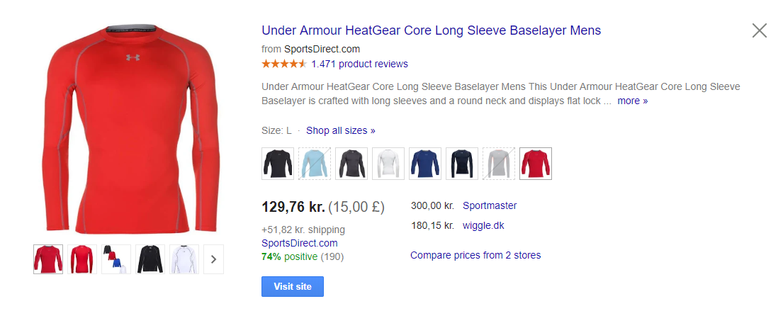 Under armour product title google shopping