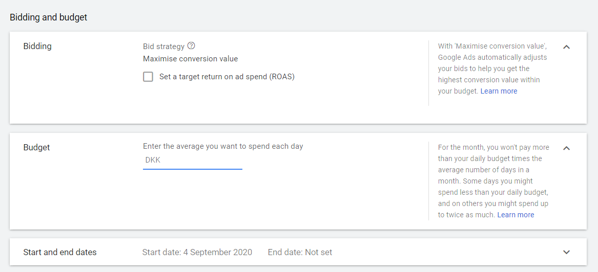 bidding and budget smart shopping google