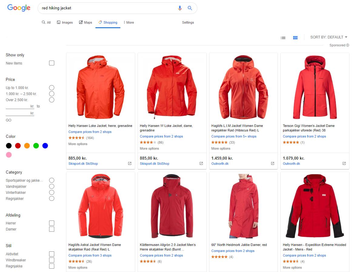 red hiking jacket Google shopping tab