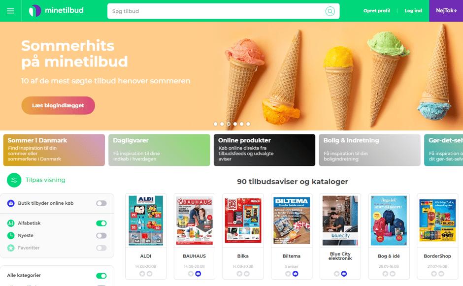 minetilbud homepage