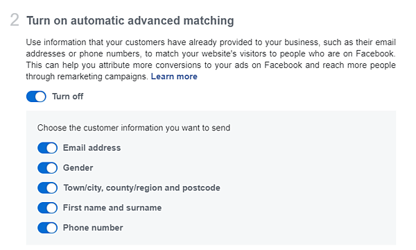 facebook automatic advanced matching