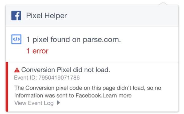 facebook pixel error