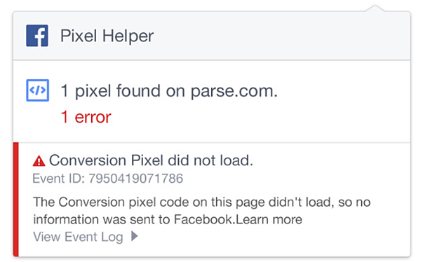 facebook pixel error