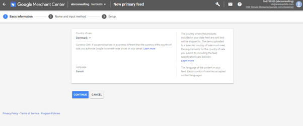 creating your feed in Google Merchant Center 2