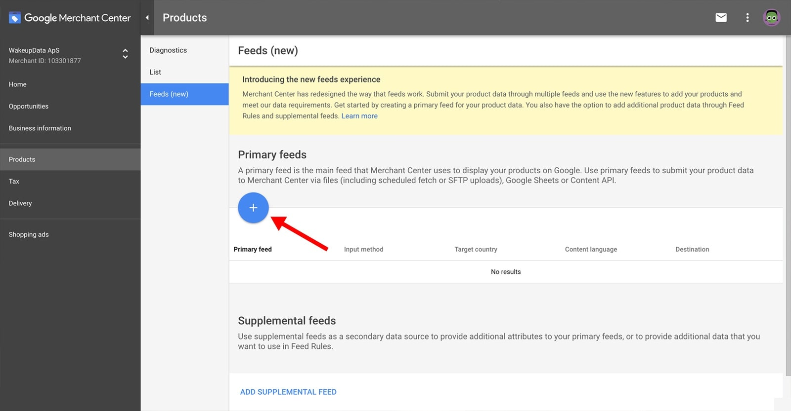 Google Merchant Center with WakeupData